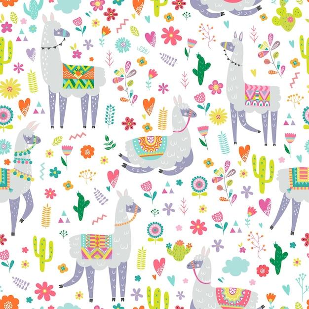 Modello senza cuciture con lama, cactus, arcobaleno ed elementi disegnati a mano. Vettore Premium