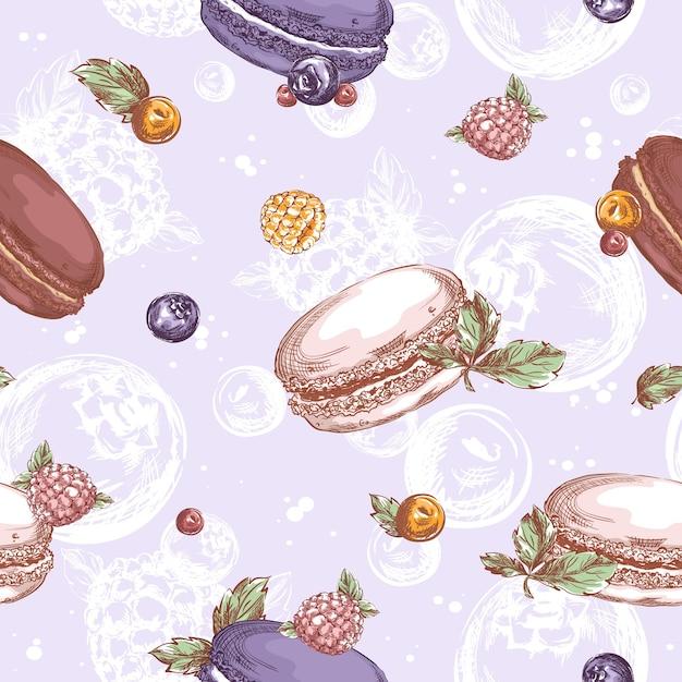 Modello senza cuciture con macarons, lamponi, mirtilli e altri frutti di bosco. disegno a mano abbozzato di dolci Vettore Premium