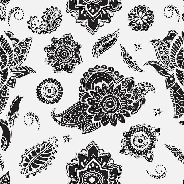 Modello senza cuciture con elementi mehndi. carta da parati floreale con fiori stilizzati, foglie, paisley indiano. Vettore Premium
