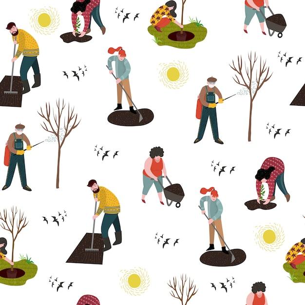 Modello senza cuciture con persone che lavorano in giardino per piantare, sviluppare la terra e curare gli alberi dai parassiti. Vettore Premium