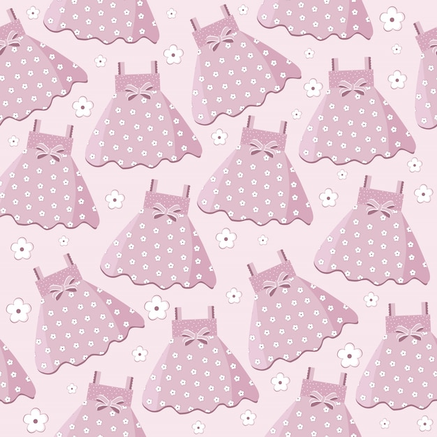 Senza cuciture con abiti da bambina rosa Vettore Premium