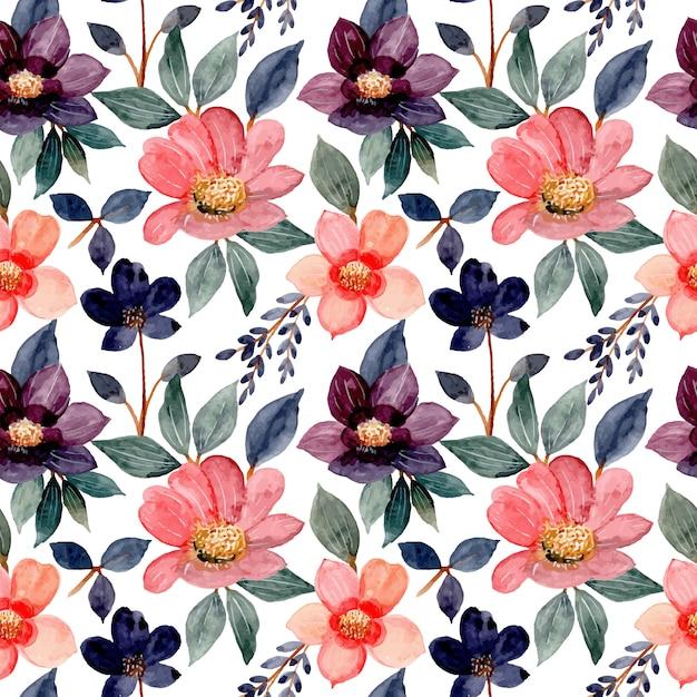 Modello senza cuciture con l'acquerello fiore rosa Vettore Premium
