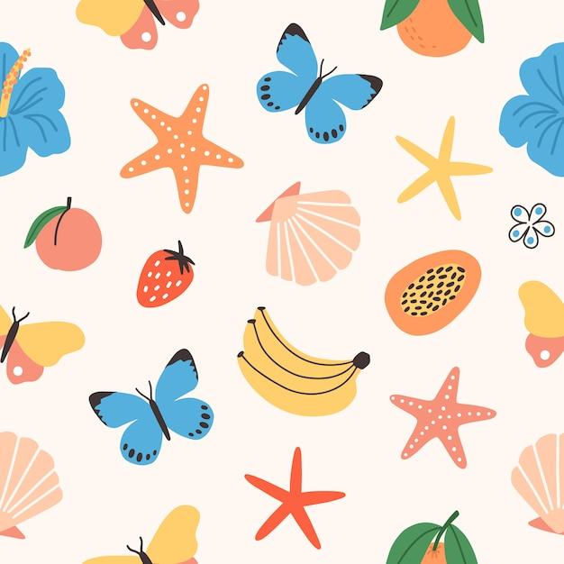 Modello senza cuciture con frutti tropicali estivi, farfalle, fiori esotici, conchiglie, stelle marine Vettore Premium