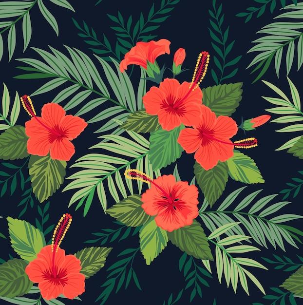 Modello senza cuciture con foglie e fiori tropicali. fiori di ibisco. luminoso modello giungla. Vettore Premium