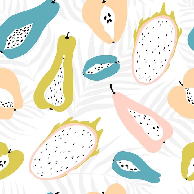 Modello senza cuciture con frutti tropicali sullo sfondo di dypsis foglie di palma. illustrazione moderna in colori pastello. Vettore Premium