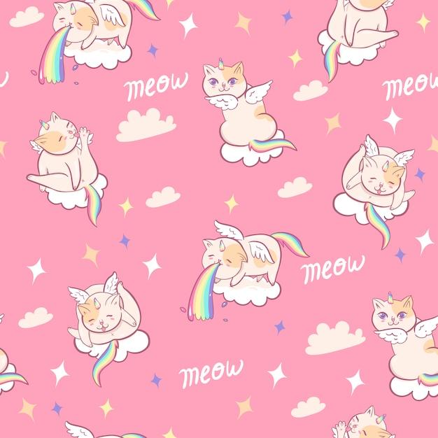 Modello senza cuciture con gatti unicorno. grafica. Vettore Premium