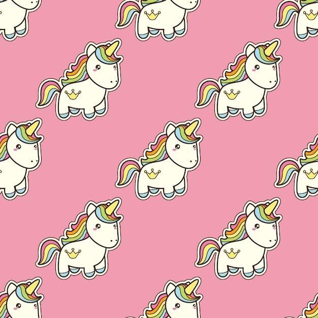 Modello senza cuciture con unicorno in stile giapponese kawaii Vettore Premium