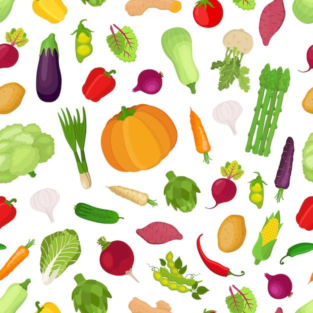 Modello senza cuciture con verdure, grande raccolta di piante Vettore Premium