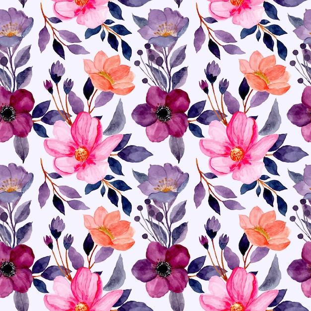 Modello senza cuciture con il fiore viola dell'acquerello e il fiore rosa Vettore Premium