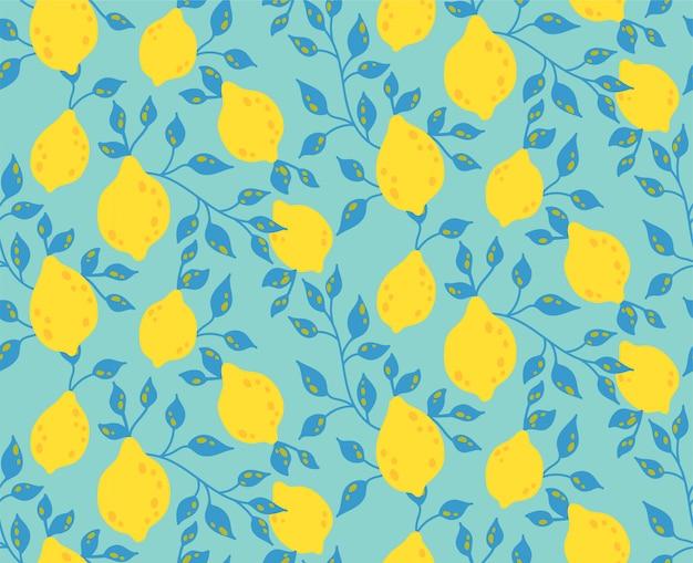 Modello senza cuciture con foglie e frutti gialli di limone Vettore Premium