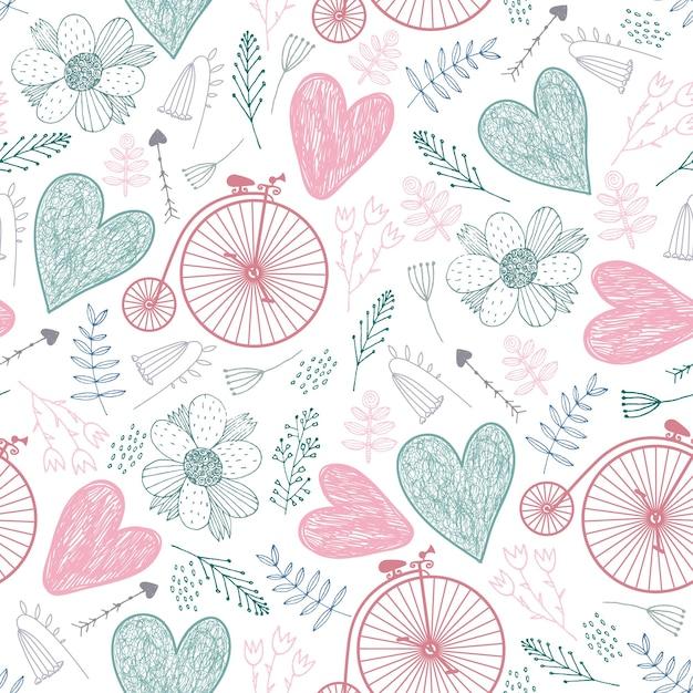 Modello romantico senza soluzione di continuità. cuori, fiori, biciclette d'epoca primavera, estate, sfondo di nozze colori pastello Vettore Premium