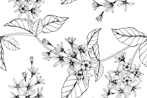 Fondo senza cuciture del modello di fiore della vite della carta vetrata. Vettore Premium