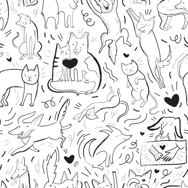 Modello di vettore senza soluzione di continuità con cani e gatti di contorno in diverse pose ed emozioni, migliori amici Vettore Premium