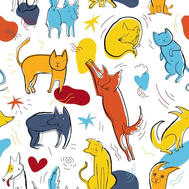 Modello di vettore senza soluzione di continuità con cani e gatti di colore carino in diverse pose ed emozioni Vettore Premium