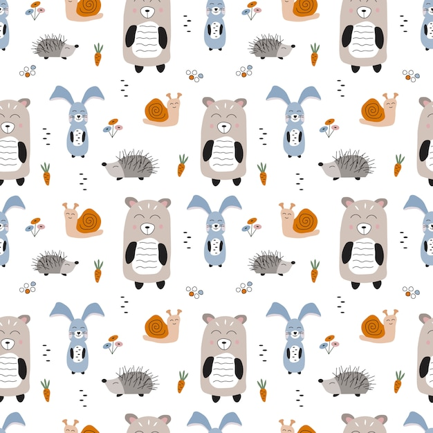 Modello di vettore senza soluzione di continuità con gli animali della foresta. orso, coniglio, riccio e lumaca del fumetto sveglio disegnato a mano. illustrazione per bambini in stile scandinavo. Vettore Premium