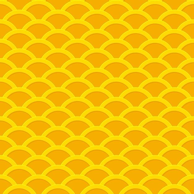 Seamless pattern ondulato da monete d'oro. Vettore Premium