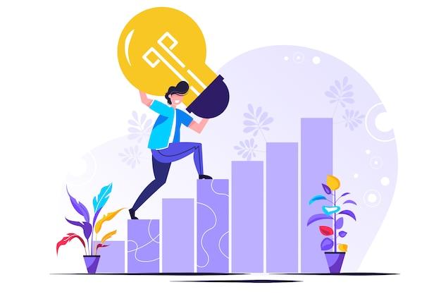 Ricerca di soluzioni, il pensiero è raggiungibile, crescita della carriera Vettore Premium