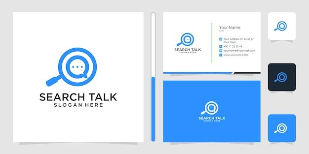 Cerca talk design logo e biglietto da visita Vettore Premium