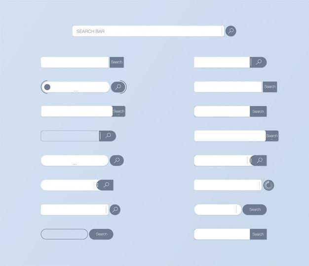 Cerca ui. impostare il design dell'elemento vettoriale della barra di ricerca, insieme dell'interfaccia utente delle caselle di ricerca. Vettore Premium