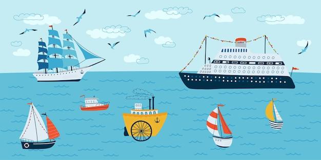 Seascape in stile piatto. scena estiva con navi, barca. illustrazione vettoriale Vettore Premium