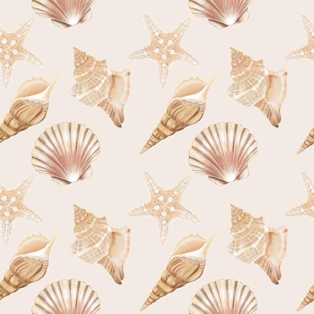 Seamless pattern di conchiglie Vettore Premium