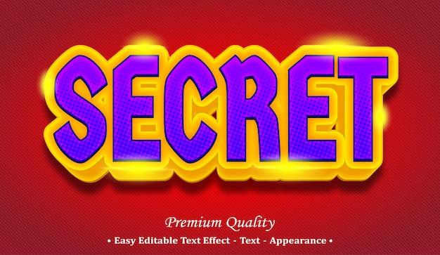 Effetto di stile di testo modificabile 3d segreto Vettore Premium