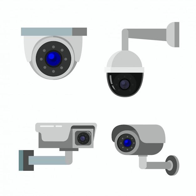 Illustrazione piana dell'icona del cctv della videocamera di sicurezza Vettore Premium