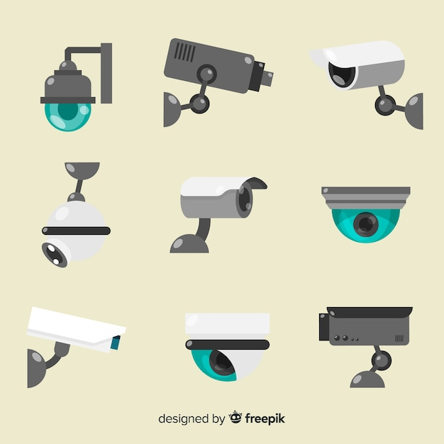 Raccolta di telecamere di sicurezza Vettore Premium