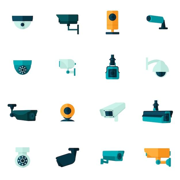 Icona della videocamera di sicurezza piana Vettore Premium