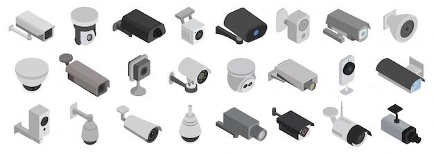Icona set isometrica telecamere di sicurezza. illustrazione cctv su sfondo bianco. icona isometrica set telecamere di sicurezza. Vettore Premium