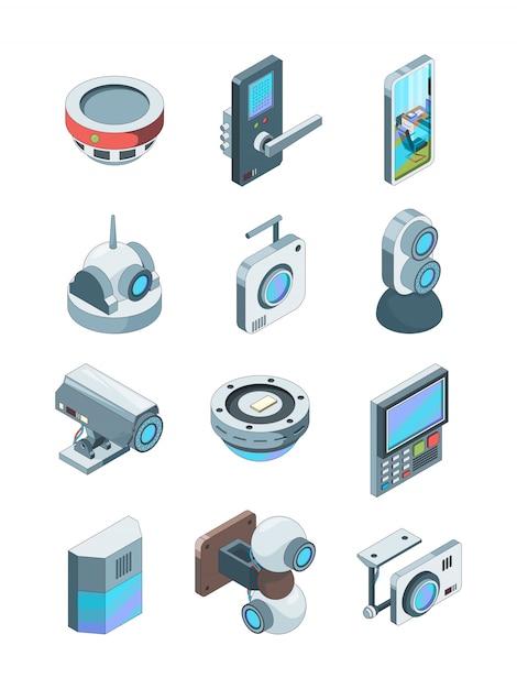 Telecamere di sicurezza. immagini isometriche di sorveglianza sicura del dispositivo del cctv della casa senza fili astuta dell'allarme isolate Vettore Premium