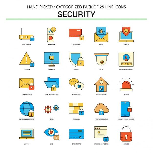 Set di icone di linea piatta di sicurezza Vettore Premium