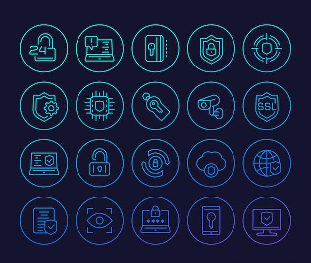 Icone delle linee di sicurezza e protezione, connessione sicura, sicurezza informatica, privacy e dati protetti Vettore Premium