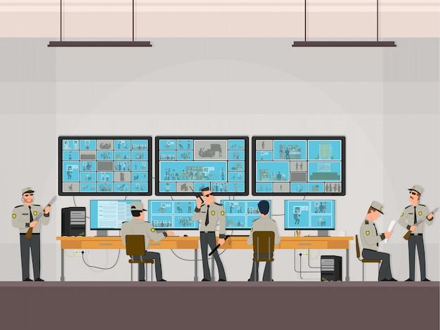 Sala di sicurezza in cui i professionisti che lavorano. telecamere di sorveglianza. cctv o concetto di sistema di sorveglianza. Vettore Premium