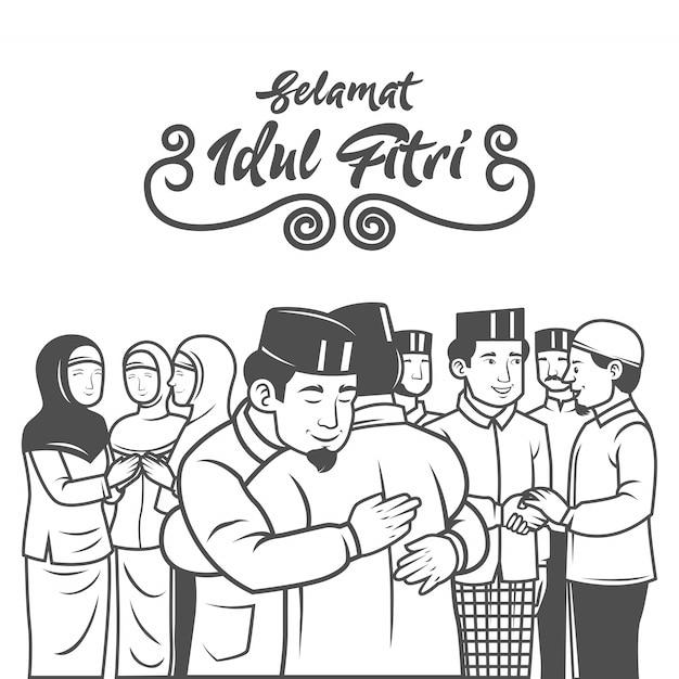Selamat hari raya aidil fitri è un'altra lingua di felice eid mubarak in indonesiano. i musulmani festeggiano eid al fitr con abbraccio e si scusano a vicenda illustrazione. Vettore Premium