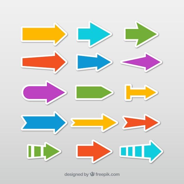 Selezione di adesivi freccia colorata Vettore Premium