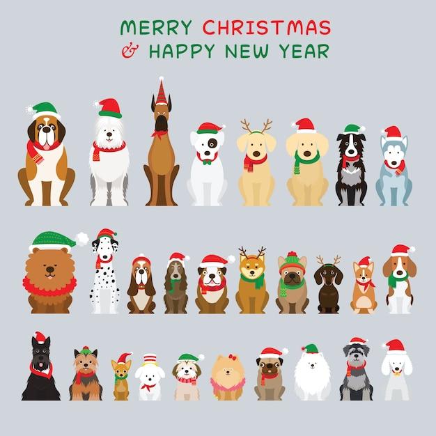 Selezione di cani in costumi natalizi Vettore Premium