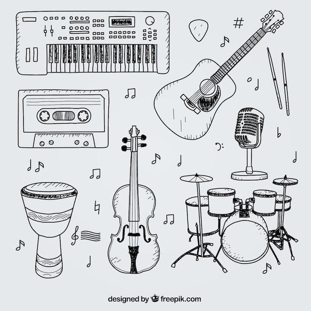 Selezione di disegnati a mano elementi per uno studio musicale Vettore Premium