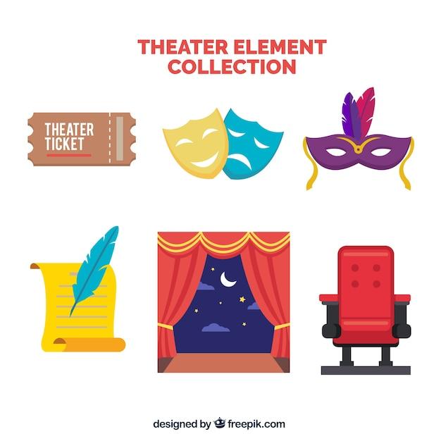 Selezione di elementi teatrali in design piatto Vettore Premium