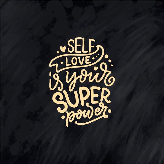 Preventivo lettering per auto-cura per blog o vendita. tempo per qualcosa di carino. bellezza, cura del corpo Vettore Premium