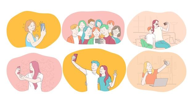 Selfie, smartphone, fotografia illustrazione vettoriale. la gente sorridente gli amici coppia la famiglia degli adolescenti Vettore Premium