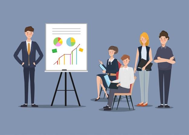 Uomini d'affari di progetto del seminario in società. disegno di carattere disegnato a mano. Vettore Premium