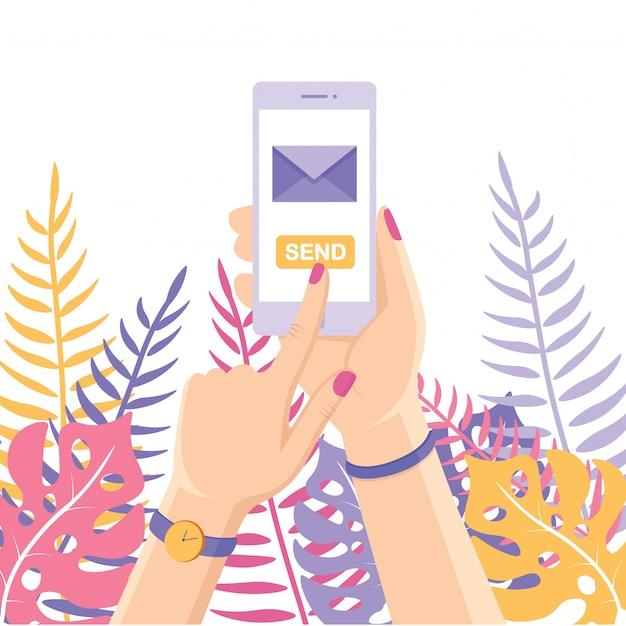 Invia o ricevi sms, lettere, e-mail con il cellulare bianco. cellulare della stretta della mano umana su priorità bassa. app per messaggi sullo smartphone. Vettore Premium