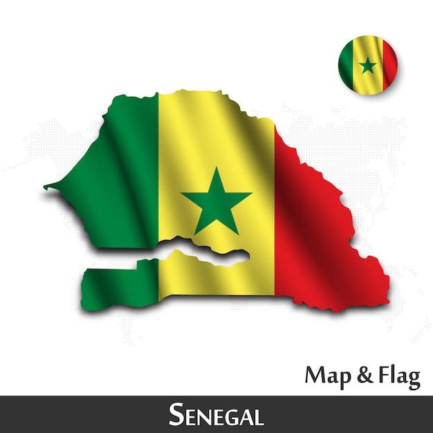 Mappa e bandiera del senegal. agitando il design tessile. dot mappa del mondo di fondo. vettore Vettore Premium