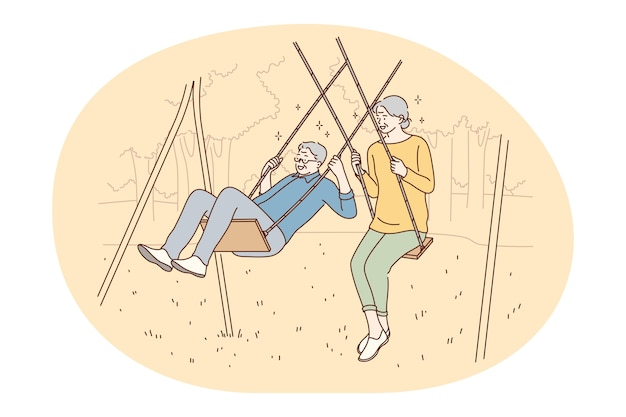 Senior coppia di anziani che vivono felice stile di vita attivo concetto. Vettore Premium