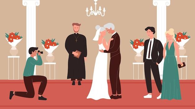 Cerimonia di nozze persone anziane nella vecchia cappella della chiesa interni Vettore Premium