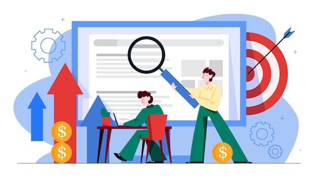 Concetto di seo. idea di ottimizzazione dei motori di ricerca per il sito web come strategia di marketing. le persone fanno promozione di pagine web su internet. illustrazione in stile cartone animato Vettore Premium