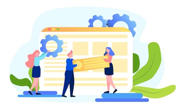 Concetto di seo. idea di ottimizzazione dei motori di ricerca per il sito web come strategia di marketing. le persone fanno promozione di pagine web su internet. illustrazione Vettore Premium