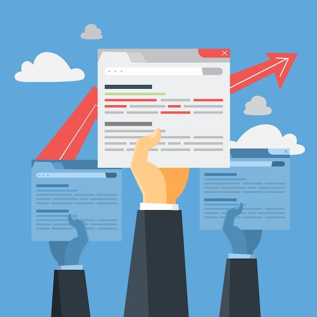 Concetto di seo. idea di ottimizzazione dei motori di ricerca per il sito web come strategia di marketing. promozione di pagine web nel browser internet. illustrazione Vettore Premium