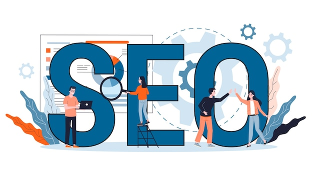Concetto di seo. idea di ottimizzazione dei motori di ricerca per il sito web come strategia di marketing. promozione di pagine web su internet. illustrazione in stile cartone animato Vettore Premium